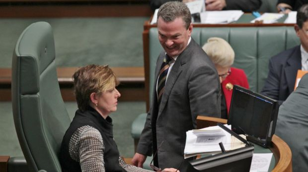 Ms Burke and then manager of opposition business Christopher Pyne.