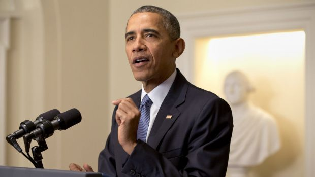 President Barack Obama speaks about the Paris climate agreement from the Cabinet Room of the White House in Washington,