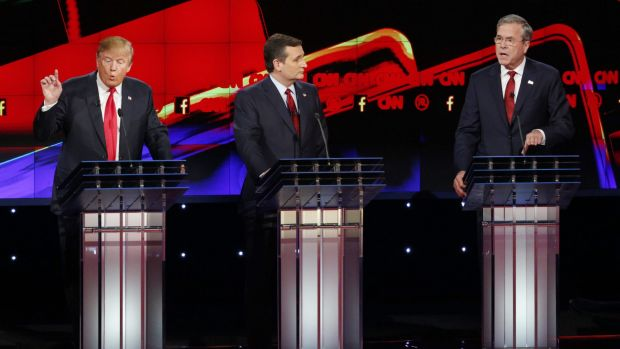 Donald Trump, left, and Jeb Bush, right, both speak as Ted Cruz looks on during the debate.