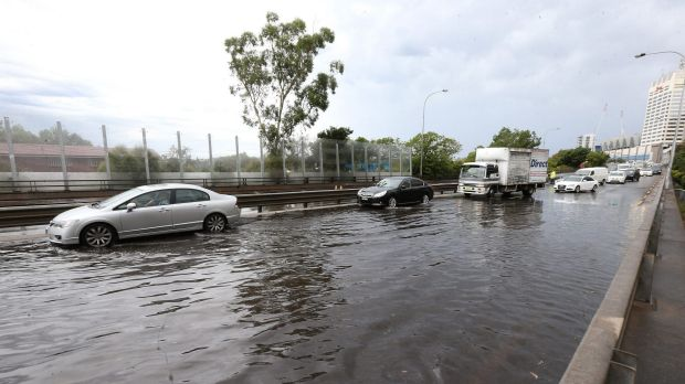 Syd Einfeld Drive Bondi Junction flooded earlier today, causing traffic gridlock.
