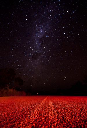 A starry night over the Stuart Highway near the small town of Larrimah.