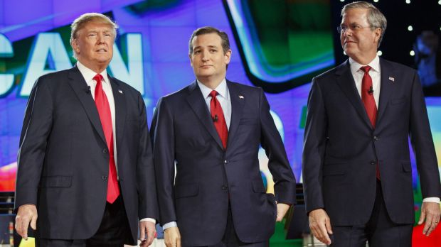 2016 Republican presidential candidates Donald Trump, Ted Cruz and Jeb Bush at the start of the December 15 debate in ...