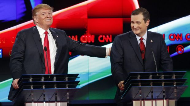 Best of friends: Donald Trump, left, jokes with Ted Cruz, his nearest rival for the nomination.