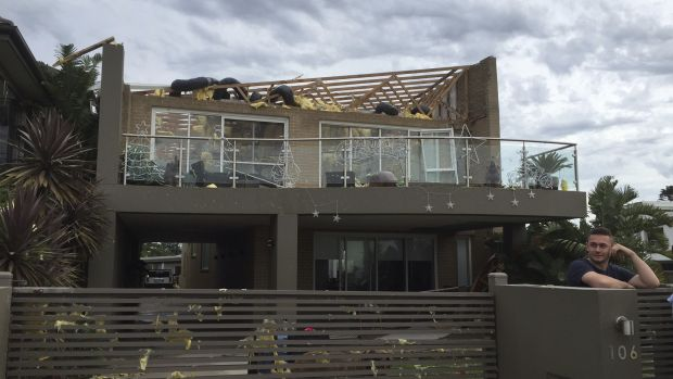 One of the houses badly damaged by the tornado in Kurnell