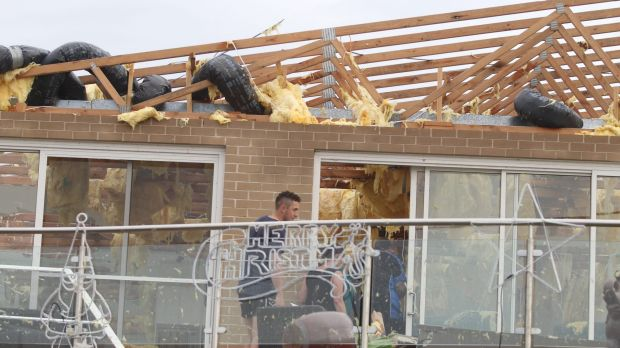 A home on Prince Charles Parade in Kurnell that lost its roof as the tornado tore through the suburb.