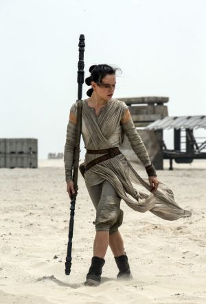 Daisy Ridley as Rey in a scene from the film, <i>Star Wars: The Force Awakens</i>.