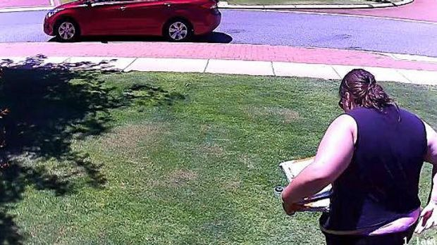 CCTV footage captured the woman apparently making off with parcels.