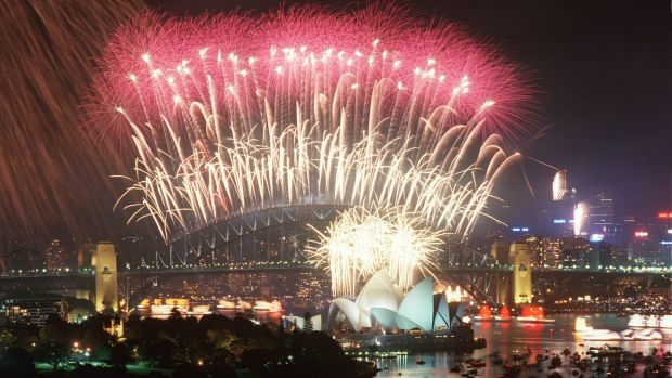 Milliennium midnight fireworks, Sydney Harbour bridge, 2000.