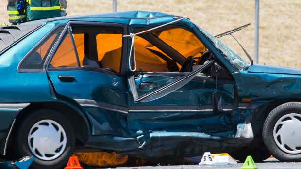 The scene of a fatal crash on the corner of Yamba Drive and Dookie Street in Farrer.