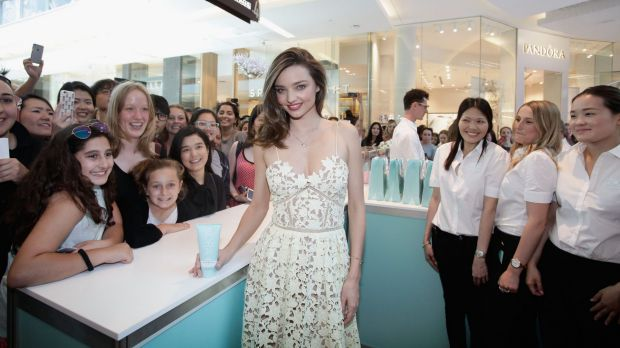 Miranda Kerr meets fans at her new pop-up shop, Kora Organics, at Westfield Bondi on Thursday.