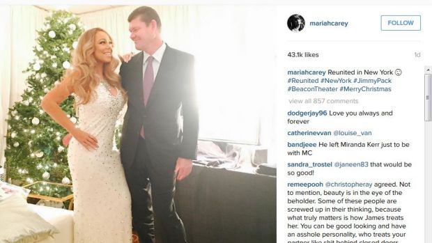 Mariah Carey and James Packer at Christmas.