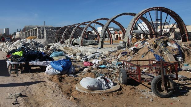 The site of a new covered market in Sidi Bouzid being built with finances from the European Union.