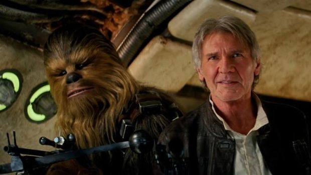Han Solo (Harrison Ford) and Chewbacca (Peter Mayhew) in Star Wars: The Force Awakens. Director J. J. Abrams' new movie ...