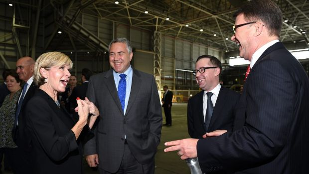 No official complaint: Foreign Affairs Minister Julie Bishop speaks with Australian Ambassador to the US designate Joe ...