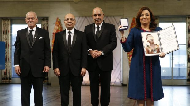 Representatives of the Tunisian National Dialogue Quartet, from left to right,  Houcine Abassi, Mohamed Fadhel Mahfoudh, ...