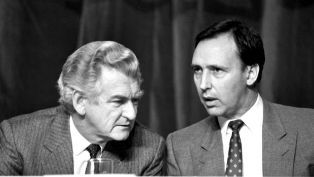 Prime Minister Bob Hawke (left) and Treasurer Paul Keating.