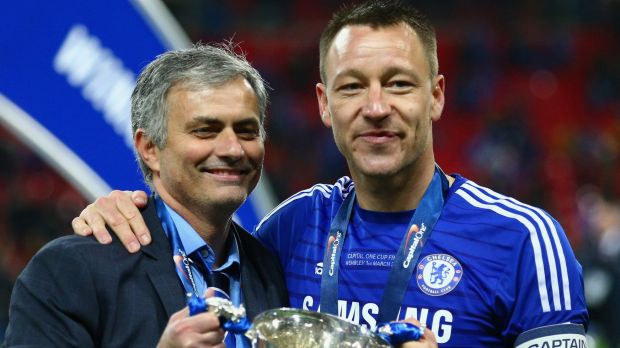 Leaving Chelsea: John Terry with former manager Jose Mourinho.