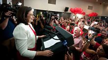 31.1.2015 . AFR. QLD Election day.  Labor leader Annastacia Palaszczuk arriving to awaiting supporters at  ALP  after ...