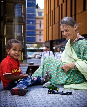 Australian nurse Valerie Browning in Sydney this week with her two-year-old adopted son Nabil.