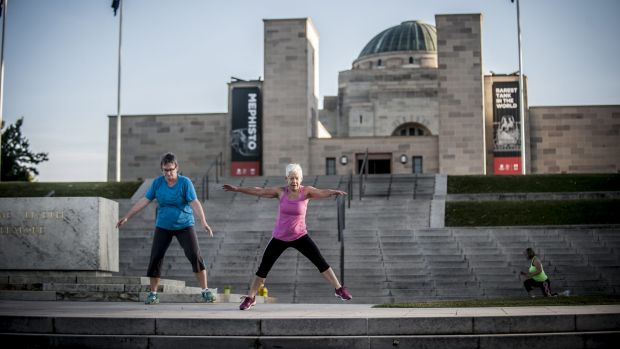 Patti Wilkins leads the morning boot camp at the Australian War Memorial.
