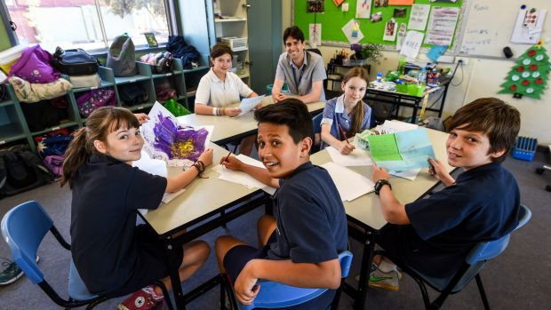 Bell Primary School students in Preston. The students have been writing letters to children in detention in Nauru as ...