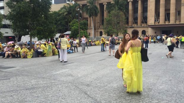 Wearing yellow, crowds descend on King George Square in Brisbane for the rally