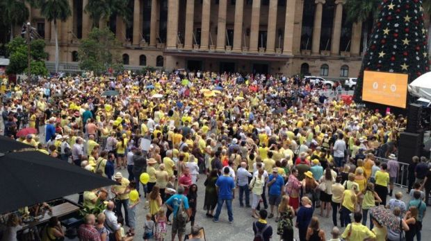 Crowds build in King George Square for the Doing it for Allison Baden-Clay rally.