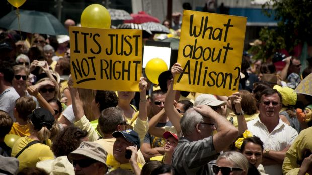 Thousands attended the rally for Allison Baden-Clay in King George Square on Friday.