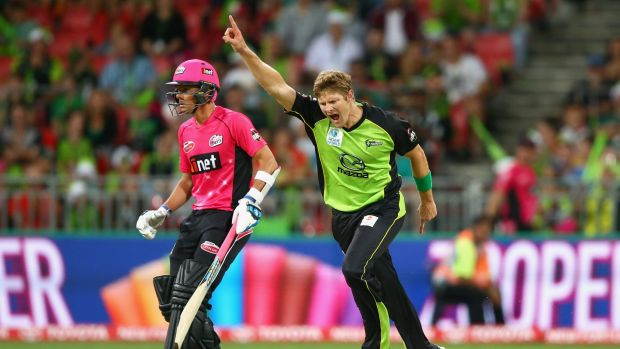 Still life in the old dog: Shane Watson celebrates dismissing Trent Lawford in the Sydney derby of the Big Bash League ...