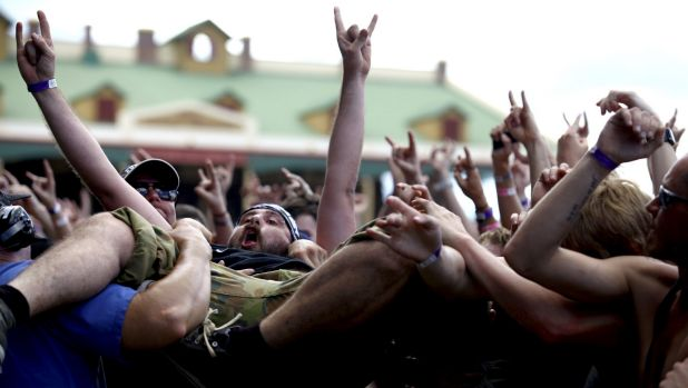 Metal will live on... TA crowdsurfer at the Soundwave Brisbane in 2015.