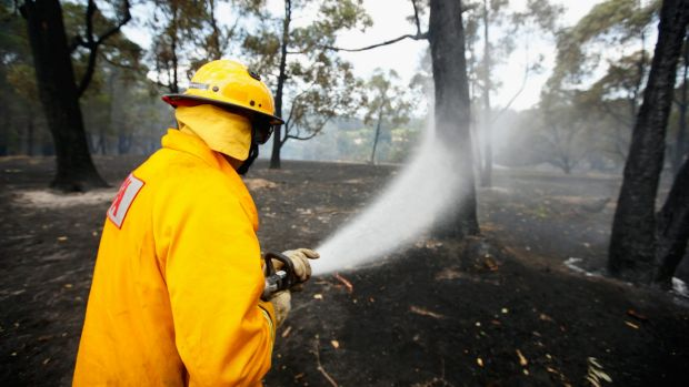 A CFA firefighter at Wandin North