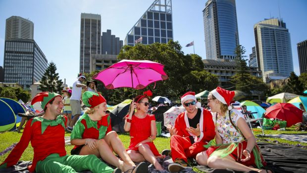 Feeling the heat: Jeremy Slough, Alicia Crawford, Bianca Vik, Michael Coombsand and Brianna Gough at Carols in the Domain.