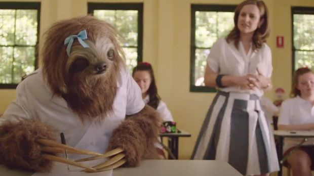 "Screen grab from the ""Stoner Sloth"" campaign."