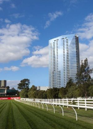 An artist's impression of the planned Epsom Road apartment tower at Flemington Racecourse.