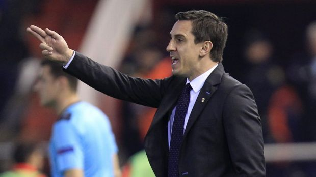 Gary Neville on the sidelines for Valencia. There are already rumblings of discontent among supporters.