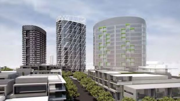 The three proposed apartment towers next to Flemington Racecourse railway station, on land in Ascot Vale.