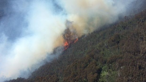 A blaze at Granuaille Mountain, near Thredbo, breached containment lines on Sunday morning.