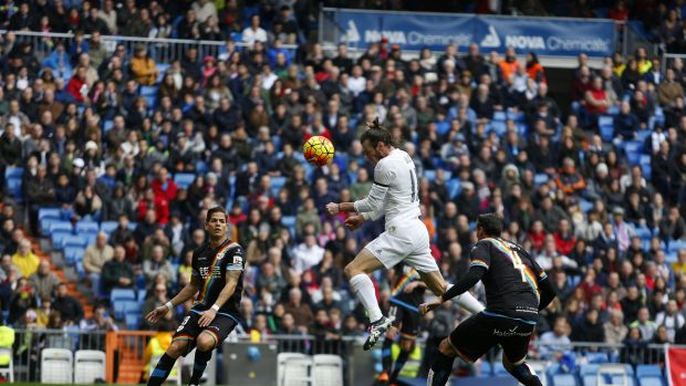 Gareth Bale heads home for Real Madrid.