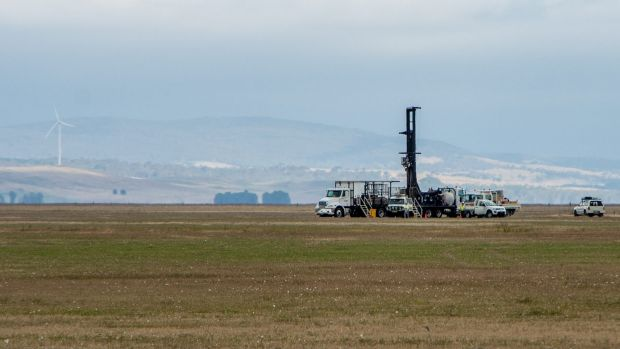 The drilling tower that recently appeared on the dry bed of Lake George.