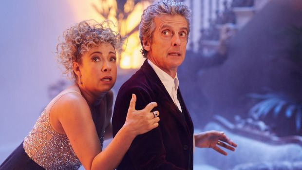 Alex Kingston as River Song and Peter Capaldi as the Doctor in the 2015 <i>Doctor Who</i> Christmas special.