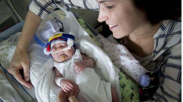 Bianca Rotar with her baby Lexi who was born prematurely at nearly 28 weeks.