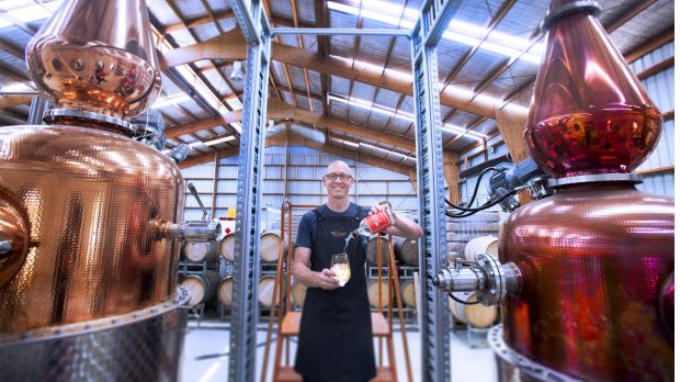 Cameron McKenzie, one of three owners of Four Pillars, in the company's distillery in Healesville.