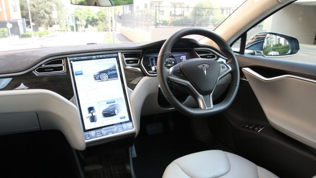 The streaming entertainment in a Model S is driven by the car's 17-inch touchscreen.