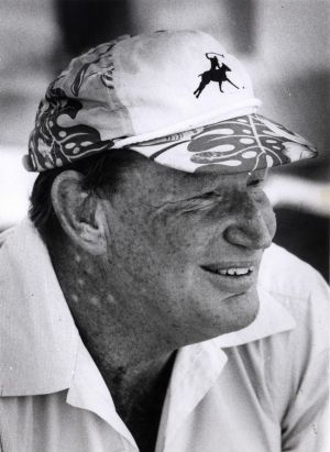Kerry Packer watching polo at Warwick Farm in March 1990.