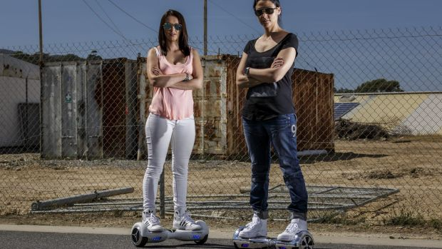 Paulina Ciurzynska and Laeyna Rillotta from Future Wheels are tapping into the demand for hoverboards this Christmas.