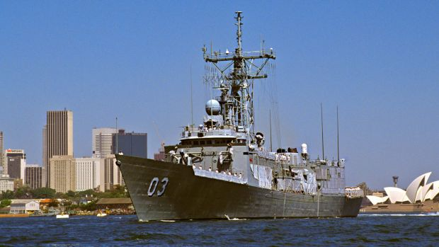 Guided missile frigate HMAS Sydney leaves Sydney for the Persian Gulf in 1991.
