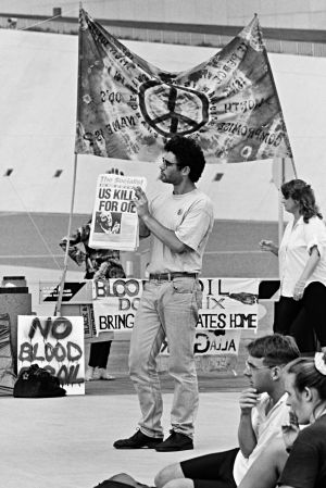 Anti-Gulf War protestors on the lawns of Parliament House, Canberra in January 1991.