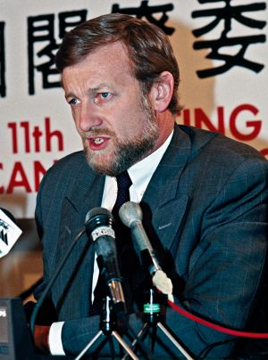 Foreign Minister Gareth Evans addressing the 11th Australia-Japan Ministerial Committee in May 1991.