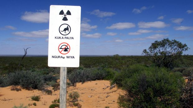 A warning sign erected at the former nuclear bomb testing site in the north-west of South Australia.