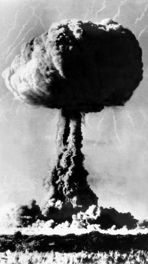 A typical mushroom cloud rises over the atomic testing range at Maralinga in South Australia in 1956.